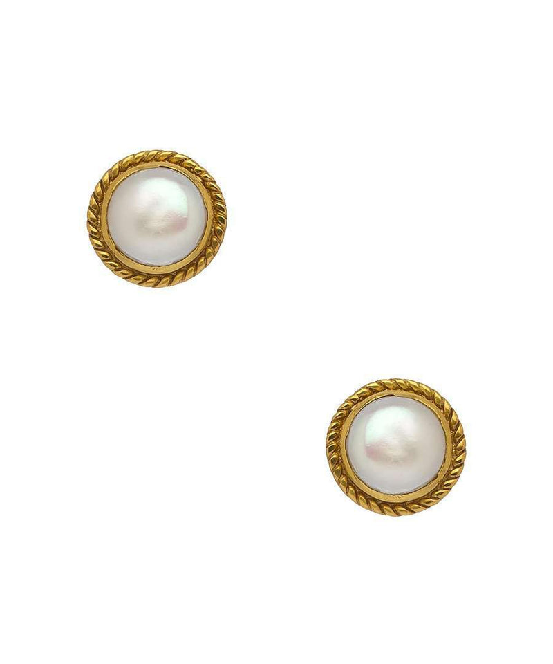 Lion Gold Pearl Stud Earrings by Julie Vos - FINAL SALE