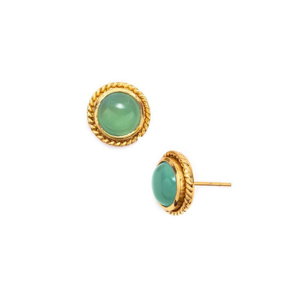 Earrings - Lion Gold Stud Earrings In Aqua Chalcedony By Julie Vos - FINAL SALE