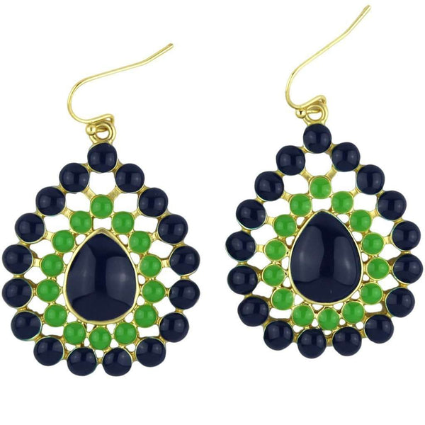 The Natalie Earring in Navy and Green by Fornash