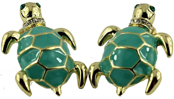 Turtle Earrings in Gold and Blue by Fornash