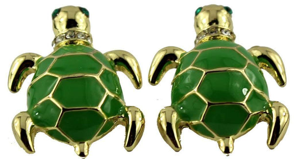 Turtle Earrings in Gold and Green by Fornash