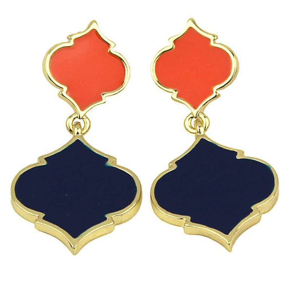 Two-Toned Spade Earrings in Orange and Navy by Fornash