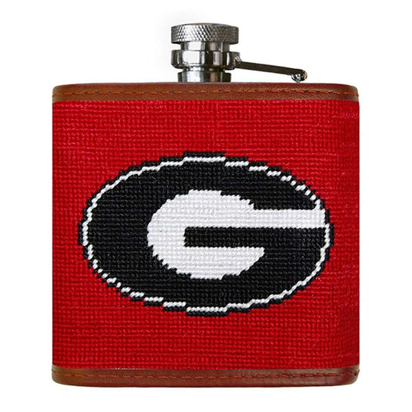 Smathers and Branson University of Georgia Needlepoint Flask in Red by Smathers & Branson