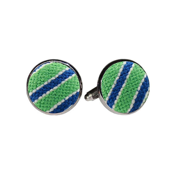 Smathers & Branson Stripe Needlepoint Cufflinks in Mint & Blueberry