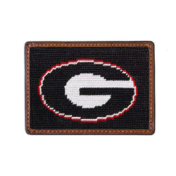 University of Georgia Needlepoint Credit Card Wallet in Black by Smathers & Branson