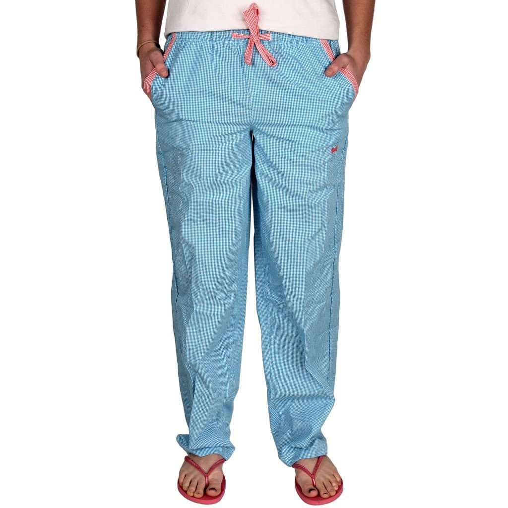 Lounge Pant in Turquoise Seersucker by Frat Collection
