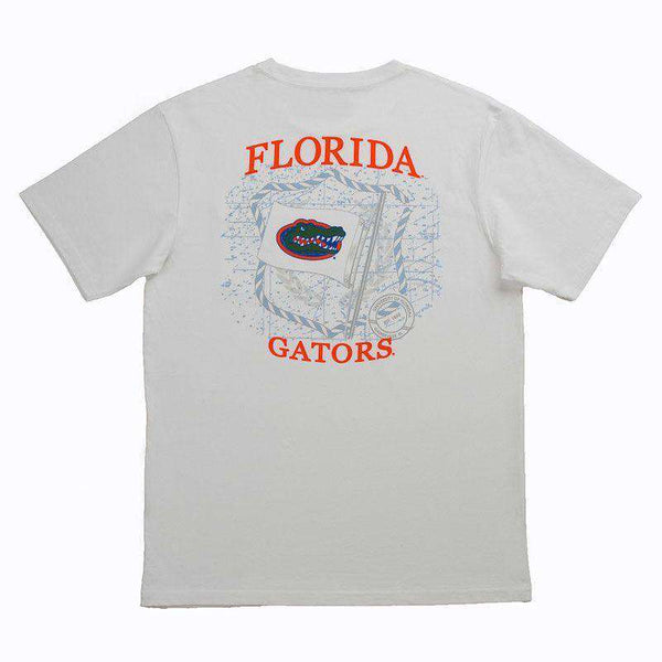University of Florida Flag Tee Shirt in White by Southern Tide  - 1
