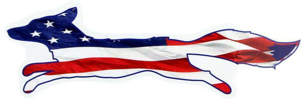"Flags & Stickers - Country Club Prep Patriotic ""Longshanks"" Fox Shaped Sticker"