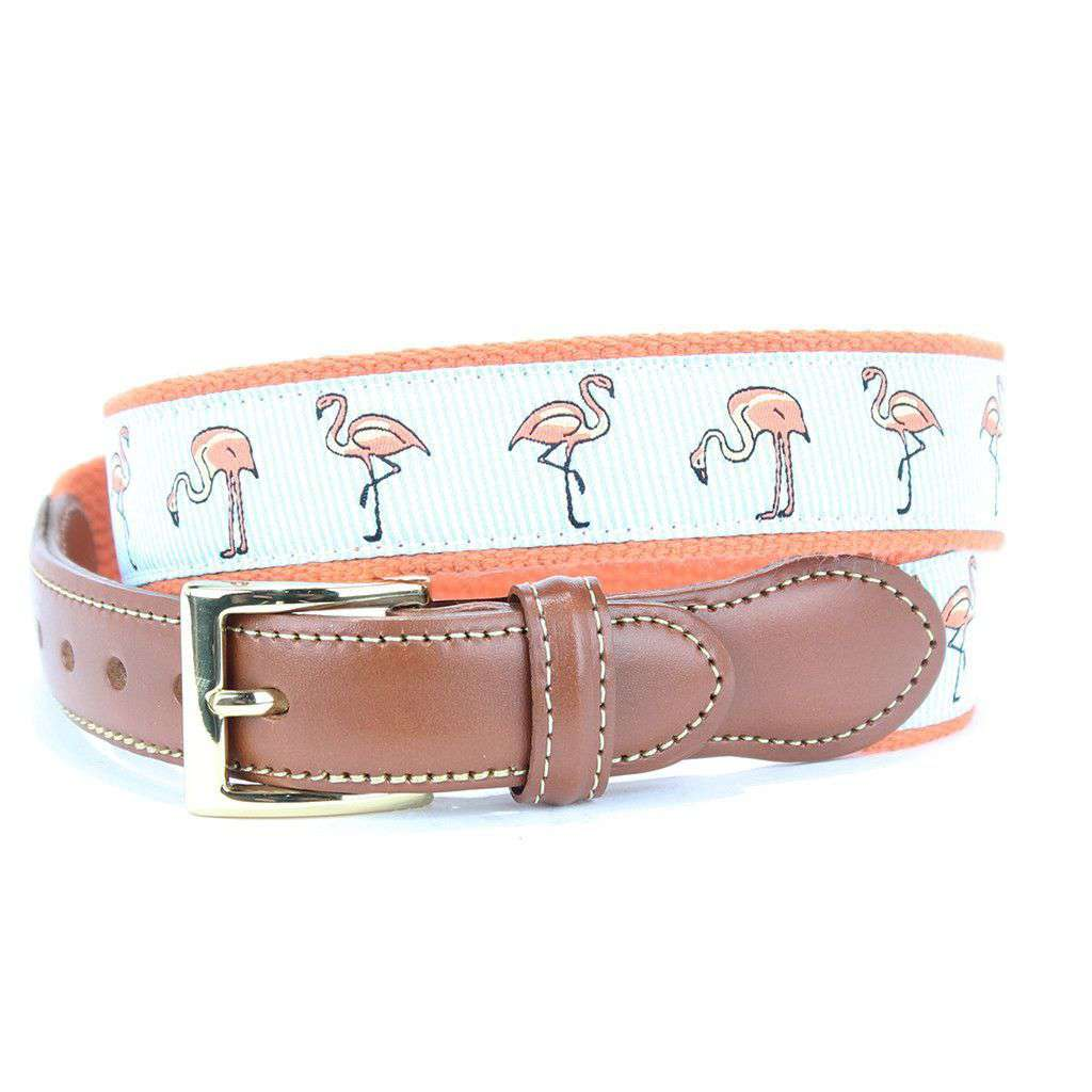 Flamingo Flock Leather Tab Belt in Melon by Country Club Prep  - 1