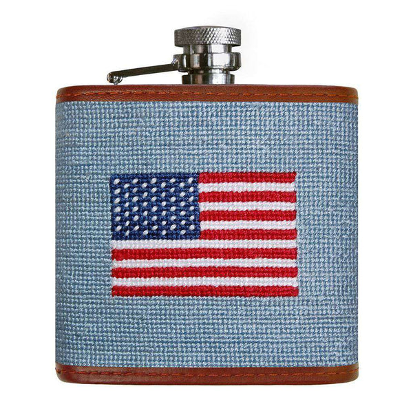 Flasks - American Flag Needlepoint Flask In Antique Blue By Smathers & Branson