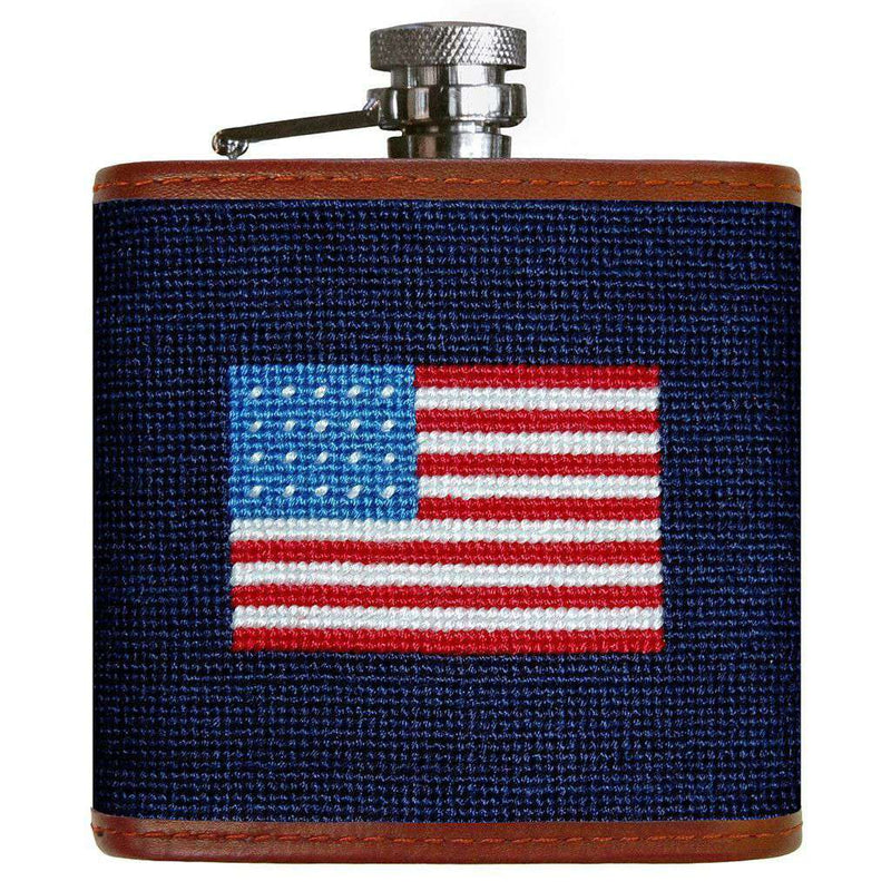 Flasks - American Flag Needlepoint Flask In Navy By Smathers & Branson