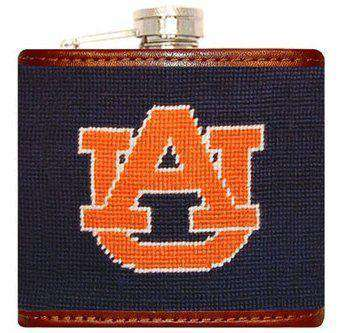 Auburn University Needlepoint Flask in Navy and Orange by Smathers & Branson
