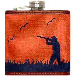 Flasks - Bird Hunter Needlepoint Flask In Orange By Smathers & Branson