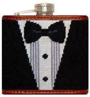 Flasks - Black Tie Affair Needlepoint Flask In Black And White By Smathers & Branson