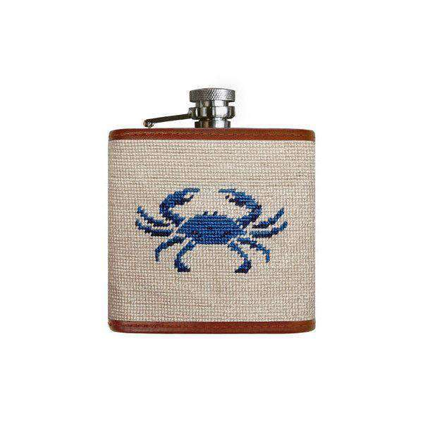 Flasks - Blue Crab Needlepoint Flask In Oatmeal By Smathers & Branson