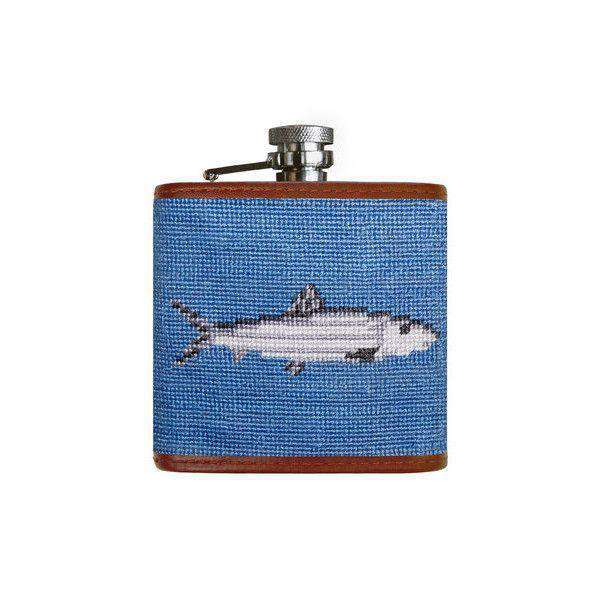 Flasks - Bonefish Needlepoint Flask In Stream Blue By Smathers & Branson
