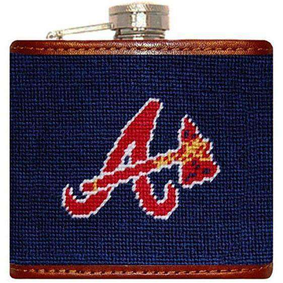 Flasks - Braves Needlepoint Flask In Navy By Smathers & Branson