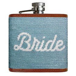 Bride Needlepoint Flask in Antique Blue by Smathers & Branson