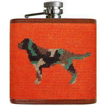 Flasks - Camo Retriever Needlepoint Flask In Orange By Smathers & Branson