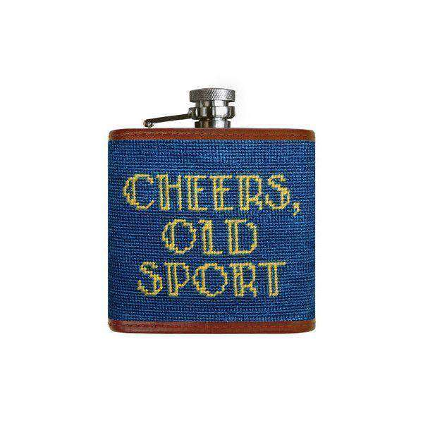 Cheers Old Sport Needlepoint Flask in Blueberry by Smathers & Branson