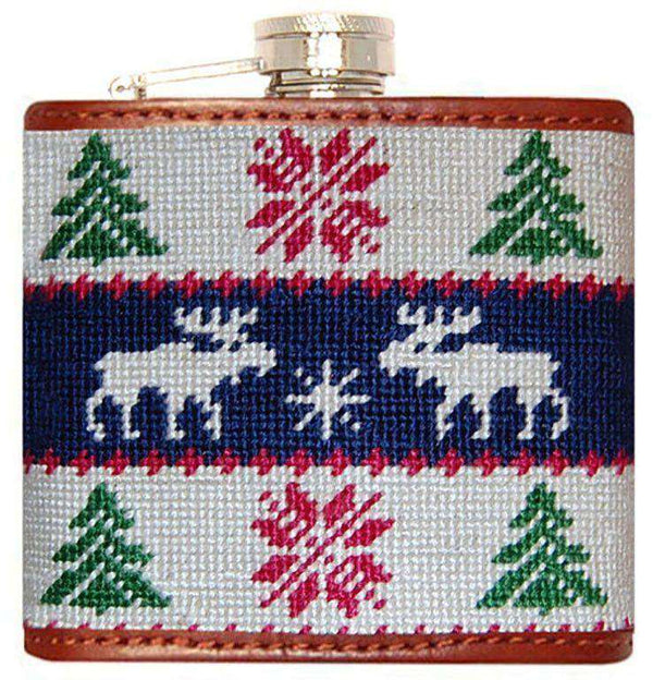 Flasks - Christmas Sweater Needlepoint Flask In White And Navy By Smathers & Branson