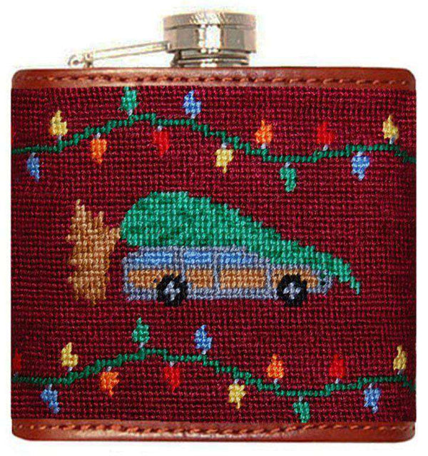Flasks - Christmas Vacation Needlepoint Flask In Maroon By Smathers & Branson