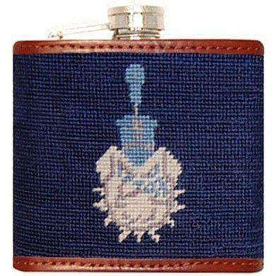 Citadel Needlepoint Flask in Navy by Smathers & Branson