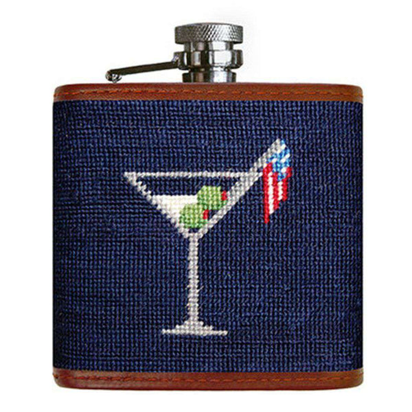 Flasks - Cocktail Party Needlepoint Flask In Dark Navy By Smathers & Branson