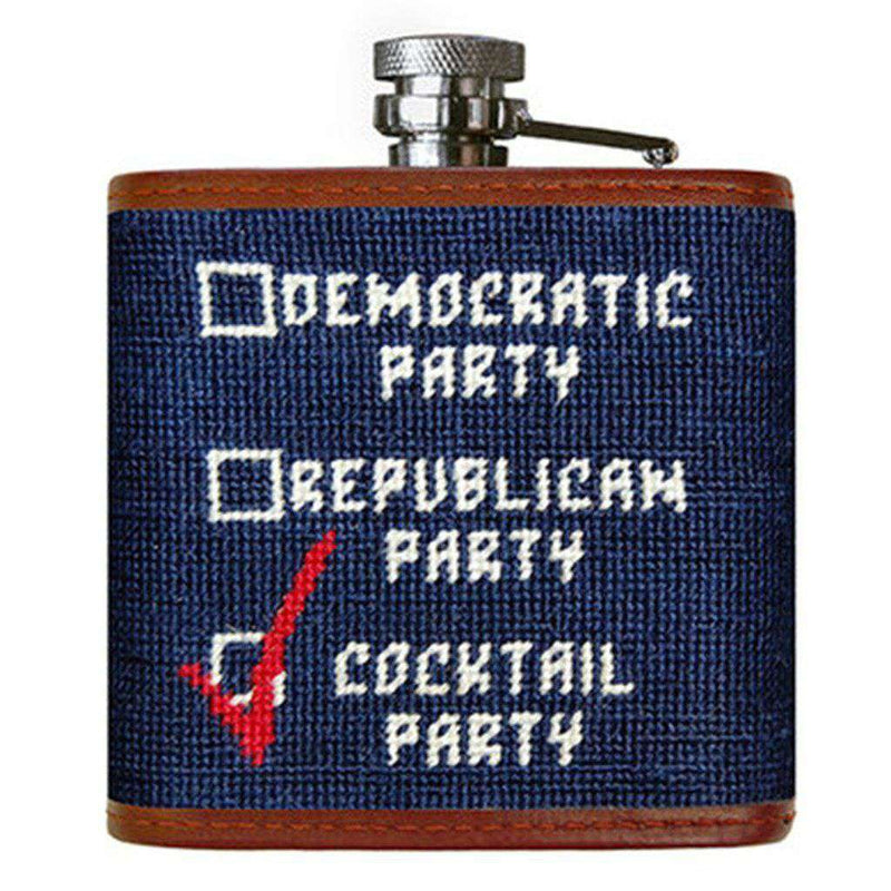 Cocktail Party Needlepoint Flask in Dark Navy by Smathers & Branson