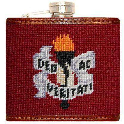 Flasks - Colgate University Needlepoint Flask In Maroon By Smathers & Branson