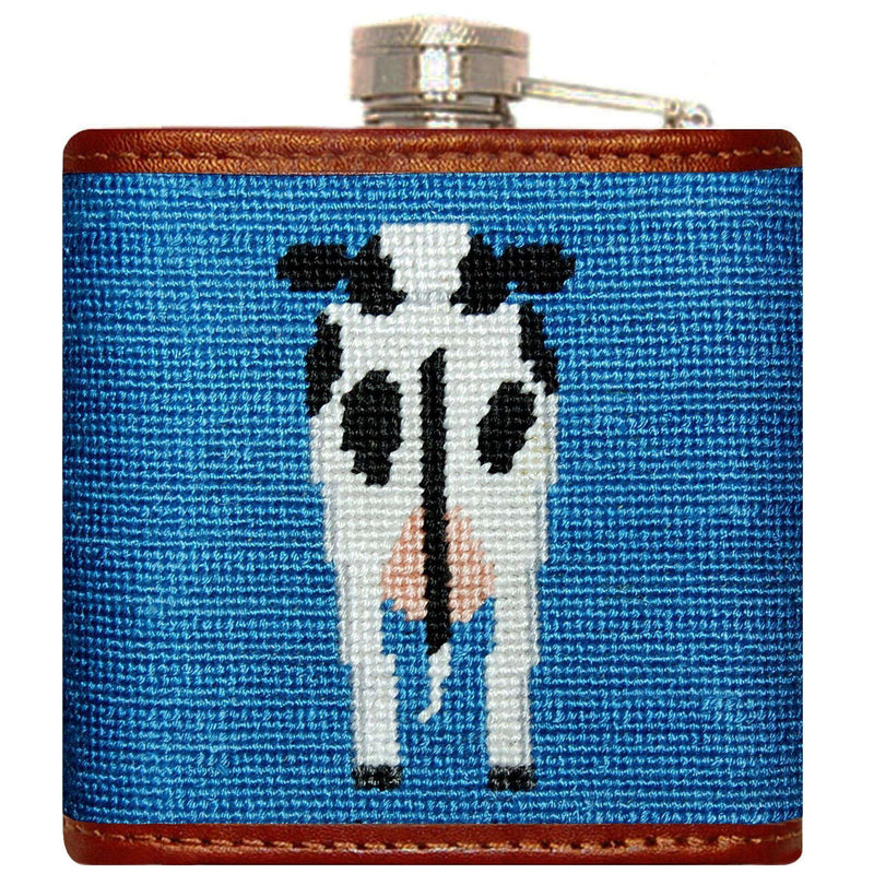Flasks - Cow Needlepoint Flask In Blue By Smathers & Branson
