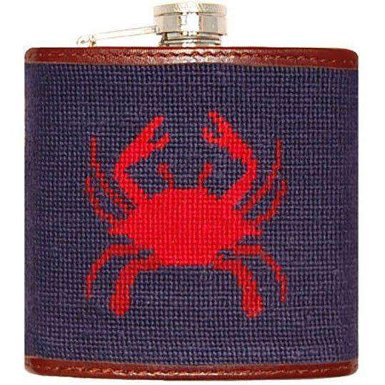 Flasks - Crab Needlepoint Flask By Smathers & Branson