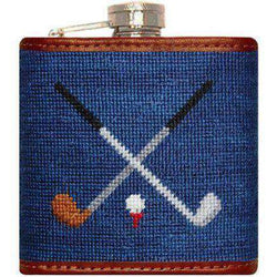 Crossed Golf Clubs Needlepoint Flask in Navy by Smathers & Branson