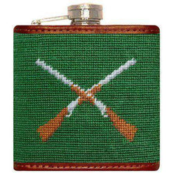 Flasks - Crossed Shotguns Needlepoint Flask In Green By Smathers & Branson