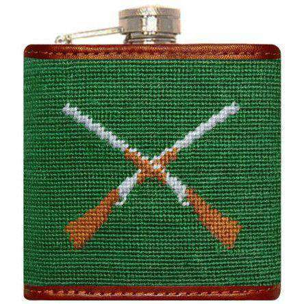 Crossed Shotguns Needlepoint Flask in Green by Smathers & Branson