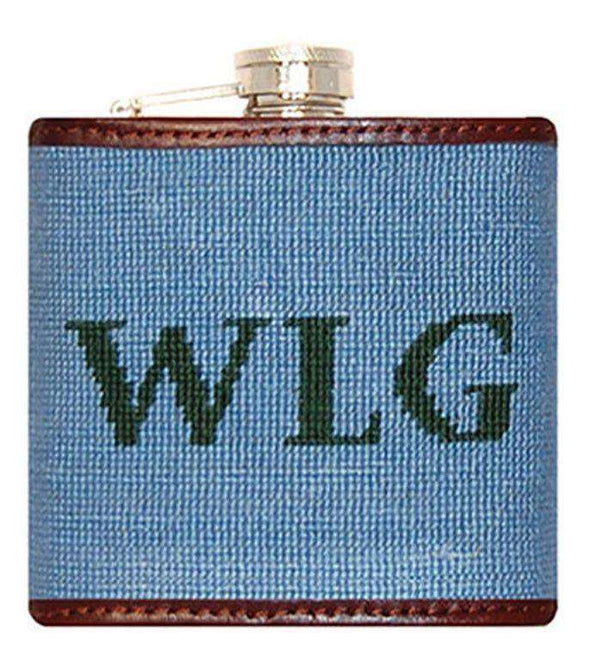 Flasks - Custom Block Monogram Needlepoint Flask In Light Blue With Hunter Green Letters By Smathers & Branson