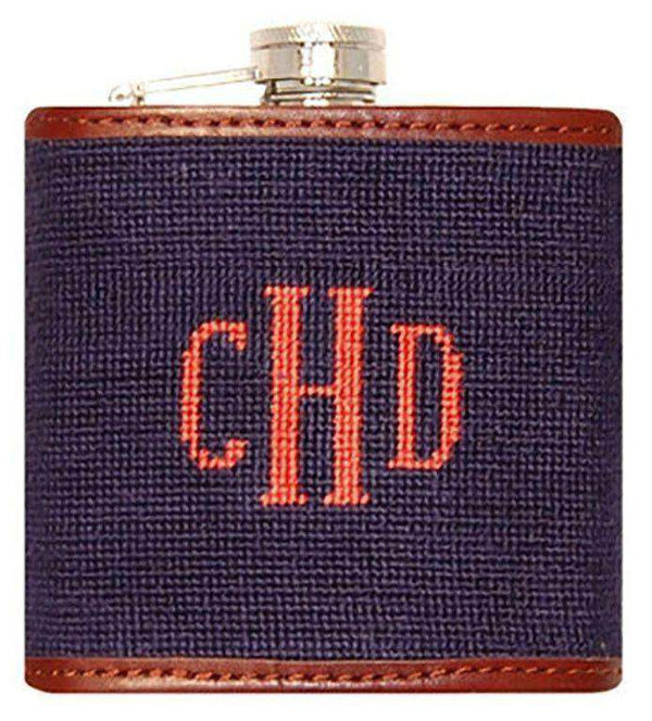 Flasks - Custom Fancy Monogram Needlepoint Flask In Dark Navy With Melon Letters By Smathers & Branson