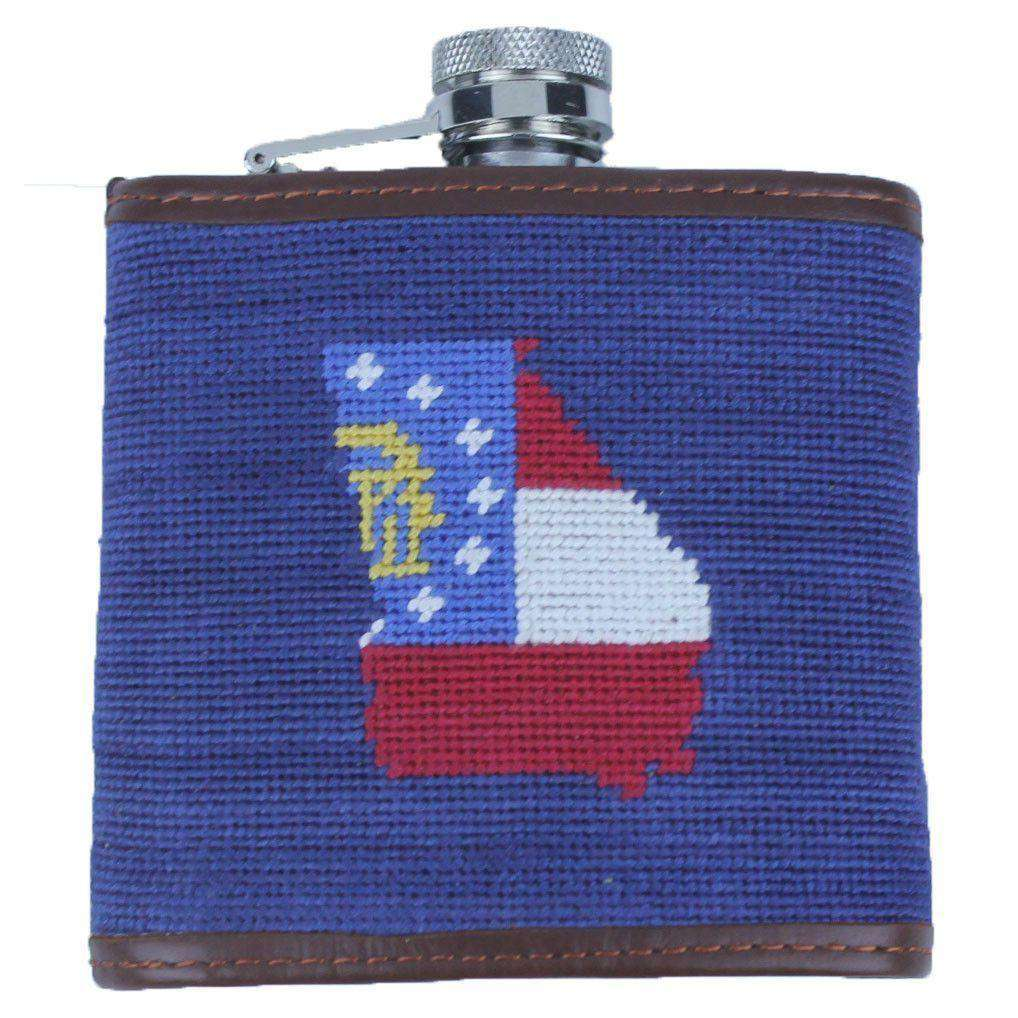 Flasks - Custom Georgia Flag Needlepoint Flask In Navy By Smathers & Branson