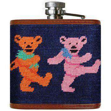 Dancing Bears Needlepoint Flask in Dark Navy by Smathers & Branson