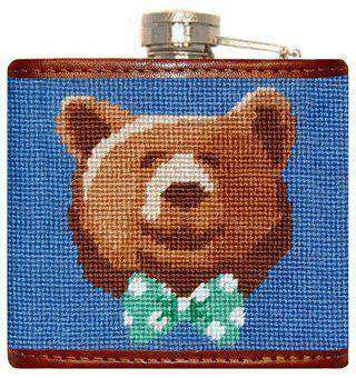 Flasks - Dapper Bear Needlepoint Flask In Blue By Smathers & Branson