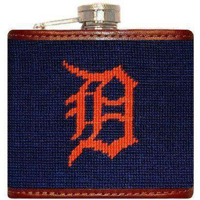 Flasks - Detroit Tigers Needlepoint Flask In Navy By Smathers & Branson