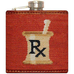 Flasks - Doctor's Orders Needlepoint Flask In Burnt Orange By Smathers & Branson