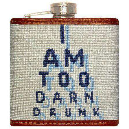 Eye Chart Needlepoint Flask in Beige by Smathers & Branson