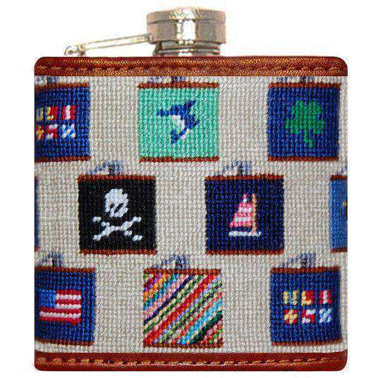 Flasks - Flasks Needlepoint Flask In Khaki By Smathers & Branson