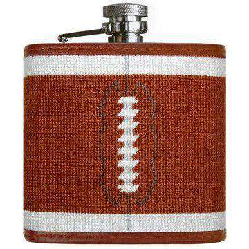 Football Needlepoint Flask in Chestnut by Smathers & Branson