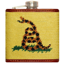 Flasks - Gadsden Flag Needlepoint Flask In Yellow By Smathers & Branson