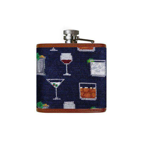 Gentlemen's Drinks Needlepoint Flask in Dark Navy by Smathers & Branson