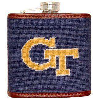 Flasks - Georgia Tech Needlepoint Flask In Navy By Smathers & Branson