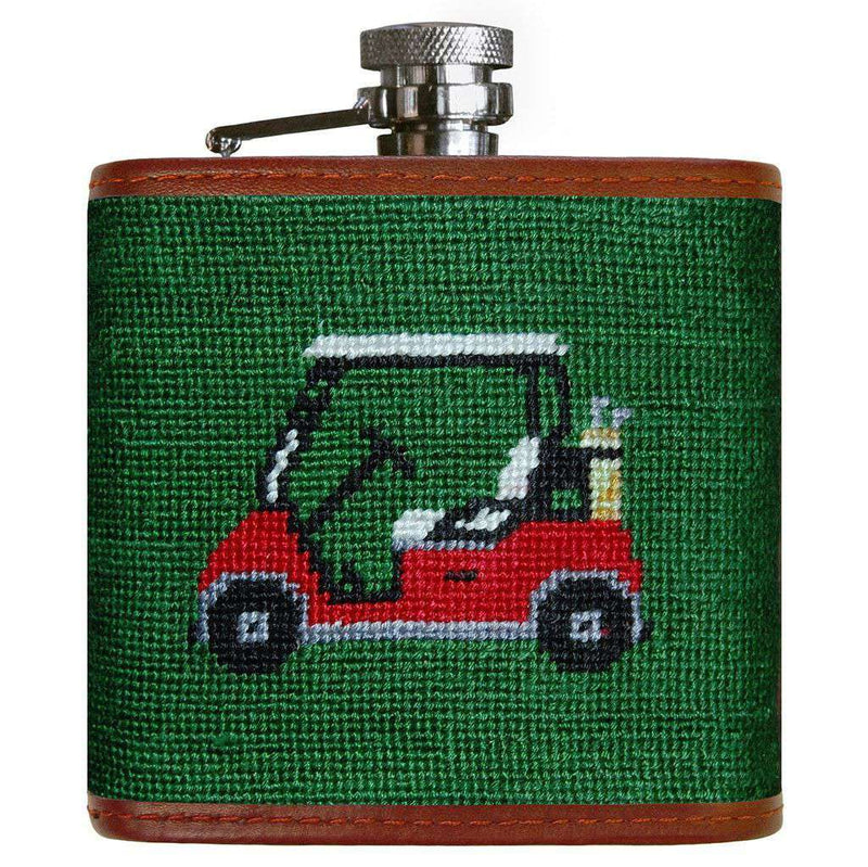 Flasks - Golf Cart Needlepoint Flask In Hunter Green By Smathers & Branson