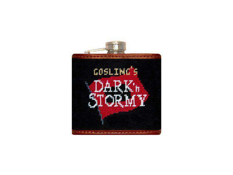 Goslings Needlepoint Flask in Black by Smathers & Branson